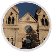 Santa Fe Church Round Beach Towel