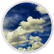 Santa Fe Clouds Round Beach Towel