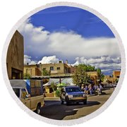 Santa Fe Plaza 2 Round Beach Towel