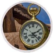Santa Fe Plaza Clock Round Beach Towel