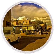 Santa Fe Plaza Round Beach Towel