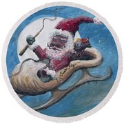 Santa Hog Round Beach Towel