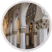 Santa Maria La Blanca Synagogue - Toledo Spain Round Beach Towel