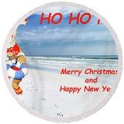 Santa Merry Christmas And Happy New Year Card Round Beach Towel
