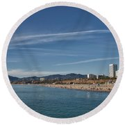 Santa Monica From Pier Round Beach Towel