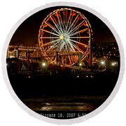 Santa Monica Pier October 18 2007  Round Beach Towel