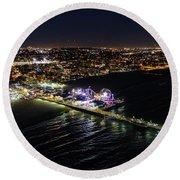 Santa Monica Pier Round Beach Towel