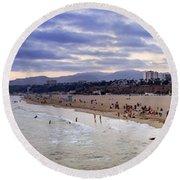 Santa Monica Sunset Panorama Round Beach Towel