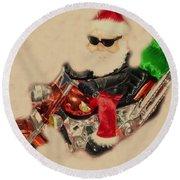 Santa On Motorcycle  Round Beach Towel