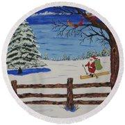 Santa On Skis Round Beach Towel