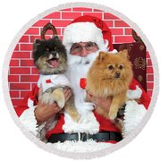 Santa Paws With Two Dogs Round Beach Towel