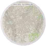 Santa Rosa California Us City Street Map Round Beach Towel