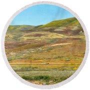 Santa Ynez Mountains Wildflowers Round Beach Towel