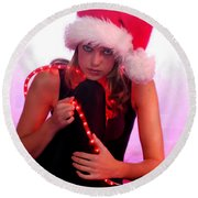 Santas Helper Round Beach Towel