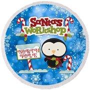 Santa's Workshop Penguin Round Beach Towel