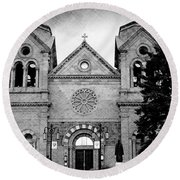 Sante Fe Cathedral Round Beach Towel