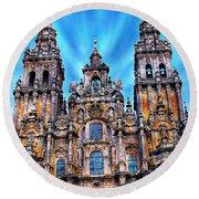 Santiago De Compostela Cathedral Round Beach Towel