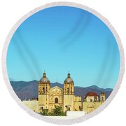 Santo Domingo Church And Hills Round Beach Towel