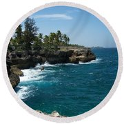 Santo Domingo Coastal View. Round Beach Towel