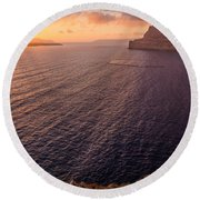 Santorini Caldera Sunset Round Beach Towel