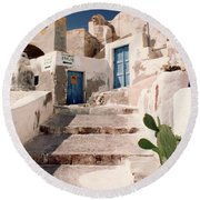 Santorini Entryway Round Beach Towel