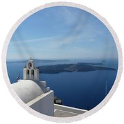 Santorini Greece Round Beach Towel