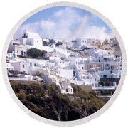Santorini Hillside 2 Round Beach Towel