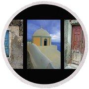 Santorini Memories Round Beach Towel