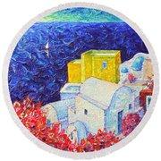 Santorini Oia Colors Modern Impressionist Impasto Palette Knife Oil Painting By Ana Maria Edulescu Round Beach Towel
