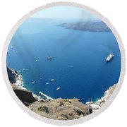 Santorini Old Port At Fira Round Beach Towel
