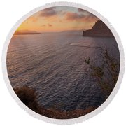 Santorini Sunset Caldera Round Beach Towel