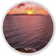 Santorini Sunset Round Beach Towel