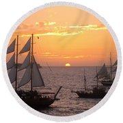 Santorini Sunset Sails Round Beach Towel