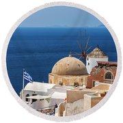 Santorini Windmill And Church Round Beach Towel