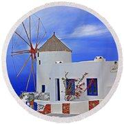Santorini Windmills Round Beach Towel