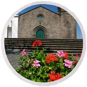 Sao Miguel Arcanjo Church Round Beach Towel