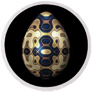Sapphire And Gold Imperial Easter Egg Round Beach Towel