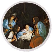 Saraceni Carlo The Birth Of Christ Round Beach Towel