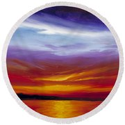 Sarasota Bay I Round Beach Towel