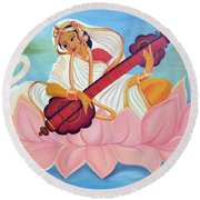 Saraswati Round Beach Towel by Shruti Prasad