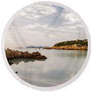 Sardinian Coast I Round Beach Towel