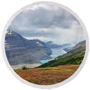 Saskatchewan Glacier In Canada Round Beach Towel