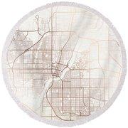 Saskatoon Street Map Colorful Copper Modern Minimalist Round Beach Towel