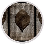 Sassafras Leaves With Wicker Round Beach Towel