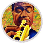 Satchmo, Louis Armstrong Painting Round Beach Towel