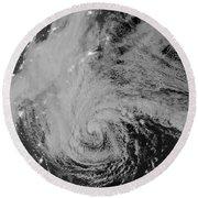 Satellite View Of Hurricane Sandy Round Beach Towel