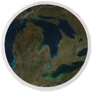 Satellite View Of The Great Lakes, Usa Round Beach Towel