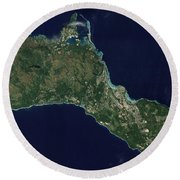 Satellite View Of The Island Of Guam Round Beach Towel