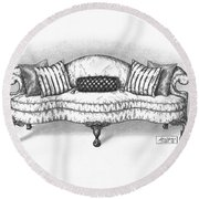 Satin Chippendale English Sofa Round Beach Towel