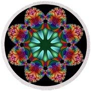 Satin Rainbow Fractal Flower II Round Beach Towel